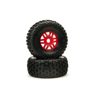 1/8 dBoots Fortress Front/Rear 2.4/3.3 Pre-Mounted Tires 17mm Hex Red (2)