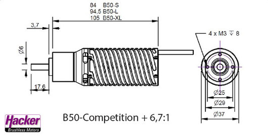Elektromotor Hacker B50-8S Competition + 6,7:1