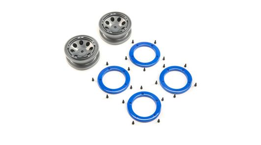 FR/RR Wheel with Beadlock, Gray/Blue: Temper G2