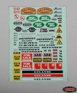 Gelande 2 Decal Sheet for Land Rover Defender D90 Hard Plast
