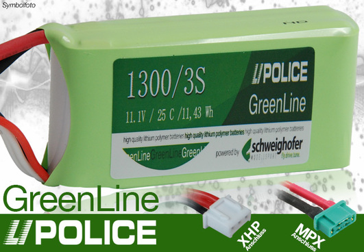LiPo Pack 1300 mAh 3S (11,1V) 25C LiPolice GreenLine Light Edition (MPX + XH)