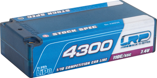 LiPo Pack LRP 4300mAh 7.4V Shorty Stock 110C/55C Competition