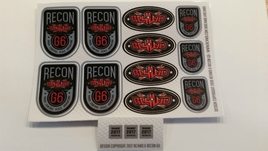 RC4WD Recon G6 Decal Sheet (NO RETAIL PACKAGING)